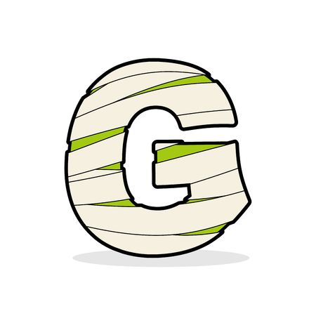egyptian mummy: Letter G Mummy. Typography icon in bandages. Egyptian zombie template elements alphabet. ABC concept type as logotype.