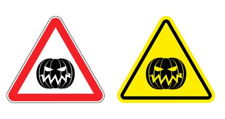 yellow attention: Warning sign attention Halloween. Hazard yellow sign terrible holiday. Evil Pumpkin on  red triangle. Set  Road signs