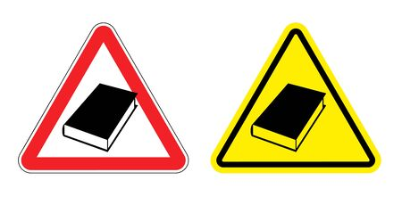 formation: Warning sign formation. Danger of Yellow Book. Silhouette of old books at red triangle. Set Road signs.