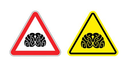 yellow attention: Warning sign of attention to think. Hazard yellow sign brain drain. Silhouette head brain on red triangle. Set Road signs.
