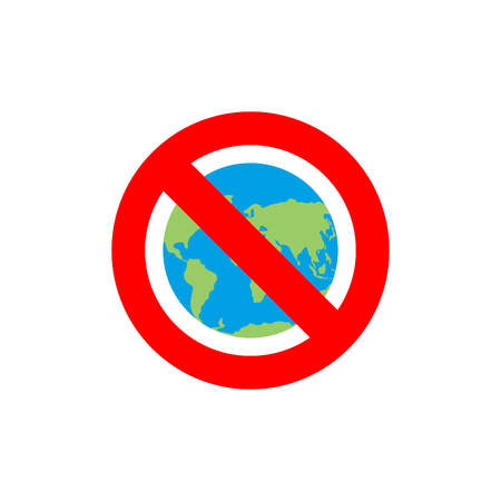 red earth: Stop Earth. Forbidden World Atlas. Frozen World Atlas. Red forbidden sign. Ban Earth. There are no inhabitants of  Earth