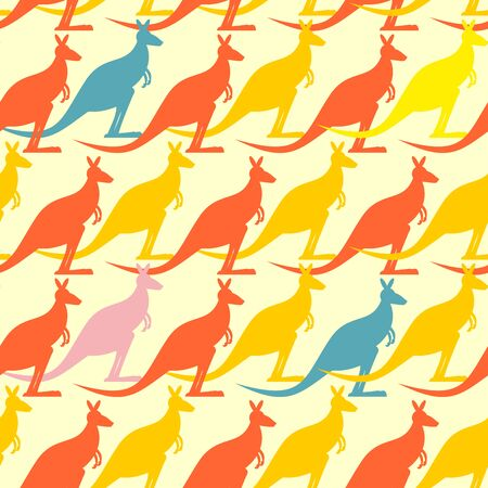 kangaroo: Kangaroo seamless pattern. Colored animals background.  Australian Marsupial mammal animal.  Many animals  long tail and bag. Cute ornament for baby fabrics