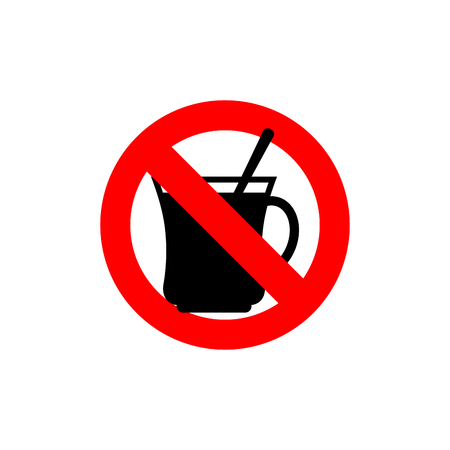 frozen drink: Stop coffee. It is forbidden to drink morning cup. Frozen drink tea. Red forbidden sign. Ban drinks Illustration