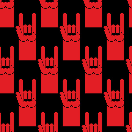 Rock hand sign red seamless pattern. Background of  symbol of rock and roll. Illustration