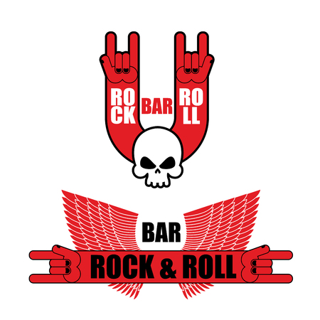 heavy metal: Set of logos for rock and roll bar. Hand rock sign and wings. Template logo for pub lovers of rock music