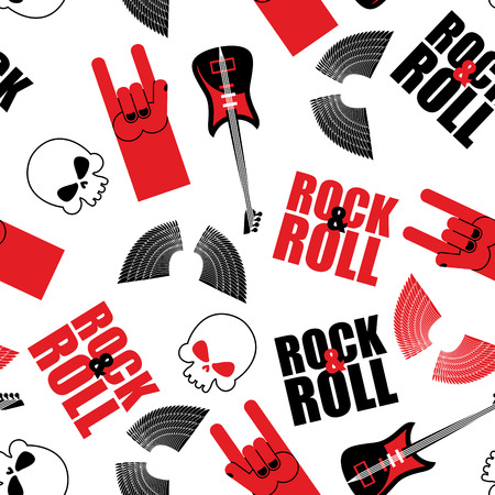 rock hand: rock music seamless pattern.  Guitar and skull. Wings and rock hand sign. Rock and roll background. Illustration