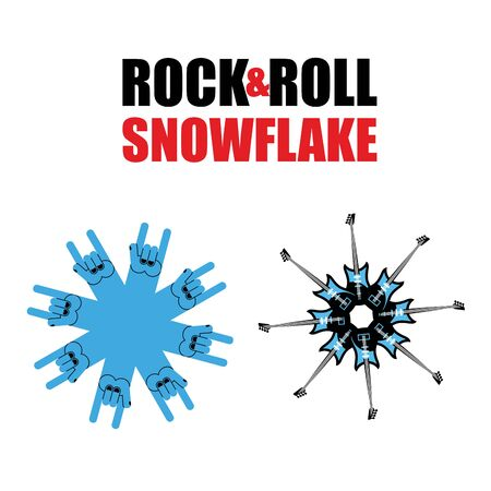 modern rock: Rock and roll snowflakes. Rock hand sign in form of snowflakes. Several Electric Guitars in shape of snowflakes.