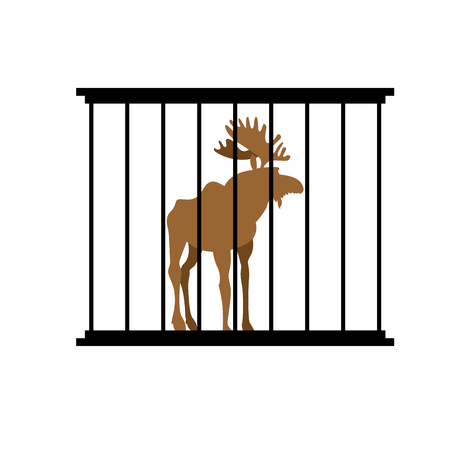 captivity: Deer in a cage. Animal in Zoo behind bars. Elk with large horns in captivity. Wild animal captive people. Illustration