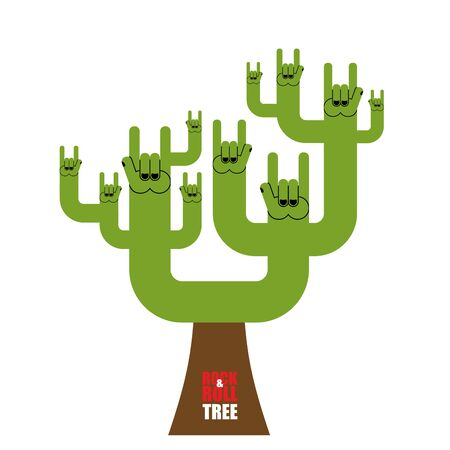 pattern rock: Rock and roll tree. Fantastic tree from rock hand sign. Plant for lovers of rock music.