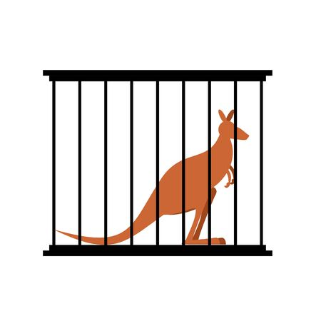 captivity: Kangaroo in cage. Animal in Zoo behind bars. Australian wild animal in captivity. Animal captivity in humans. Illustration