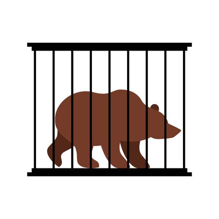 captivity: Bear in cage. Animal in Zoo behind bars. Big beast Grizzly wild animal in captivity. Dangerous animal captivity in humans.