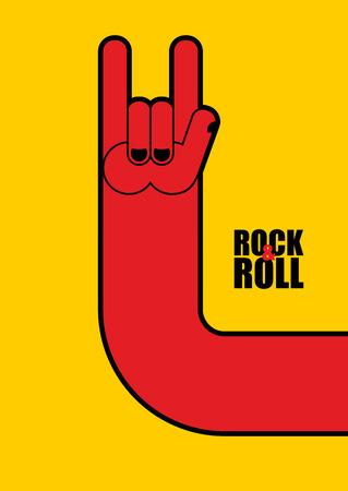 手話ロックン ロール。ロック ・ フェスティバルのポスター。  イラスト・ベクター素材