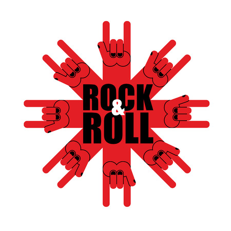 rock n: Rock and roll logo. Star of rock hand sign. Template logo for  musical hard rock festival.