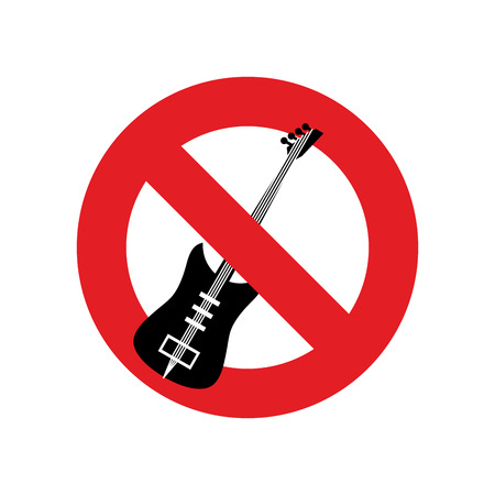 forbidding: Stop music. Ban for rock music. Red forbidding character. Forbidden electric guitar.