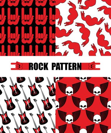 rock n: Rock pattern. Set seamless patterns  theme of rock music. Rock hand Symbol background. Texture from hearts. Electric guitar,  repeating background. Skull with wings pattern. Illustration