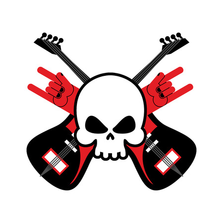 rock hand: Skull with guitars and rock hand symbol.