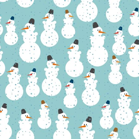 snowman isolated: Snowman seamless pattern. Christmas background. Ornament from snowmen to celebrate new year. Illustration