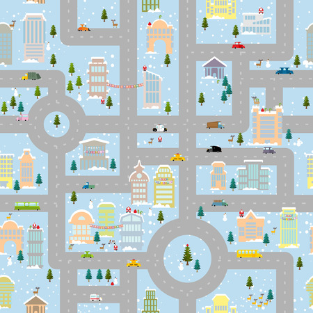 helpers: Large winter Christmas town. Metropolis with office buildings and transport. Skyscrapers and public property. Snowfall. Santa and helpers bring gifts. Christmas tree and snowman, Elf and reindeer. Seamless Christmas pattern. Illustration