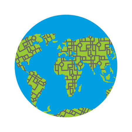 Urbanization earth. Roads have filled in all continents of  land. Highways around the world. Traffic jams in cities. Concept Illustration pollution of planet. Illustration