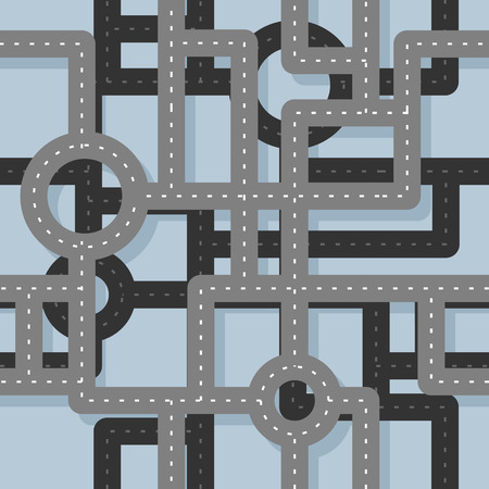 highway signs: Road seamless pattern. Map Highway background. Endless road highway. Road junction on several levels. Traffic on junction in city