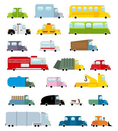 brandweer cartoon: Auto set cartoon stijl. Grote transport iconen collectie. Ground set voertuigen. Ambulance en schoolbus. Scooter en brandweerwagen. Politie auto en een lijkwagen. Childrens voertuigen Stock Illustratie