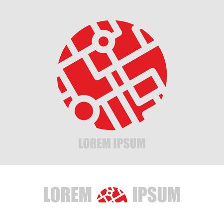 ロゴのボールのセグメント。組織の革新と新技術のエンブレム ビジネス テンプレートです。ピースの輪。旅行代理店のための概念。グローブのロゴ