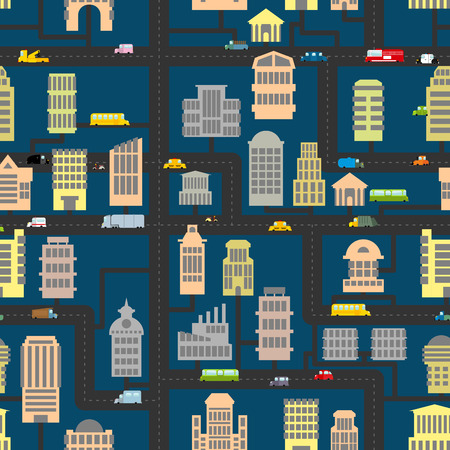 town square: Night city pattern. Skyscrapers and transportation urban seamless background. Infrastructure, homes and cars. Texture of  road, real estate and public and Business building. Cartoon map of city in evening. Illustration