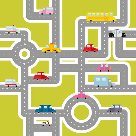 Road and transport seamless pattern. Cartoon map of cars and traffic. Bus and ambulance. Taxis and scooter. Texture of Cars for childrens fabric.