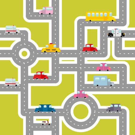 ambulancia: Transporte por carretera y sin patrón. Mapa de la historieta de los coches y el tráfico. Autobuses y ambulancias. Los taxis y moto. Textura de Autos en tela de niños. Vectores