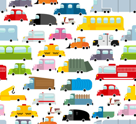cartoon truck: Car seamless pattern. Background of transport in cartoon style. Many small toy cars. Cute transport Texture for baby fabric. School bus and taxi. Tow truck and garbage truck. Illustration