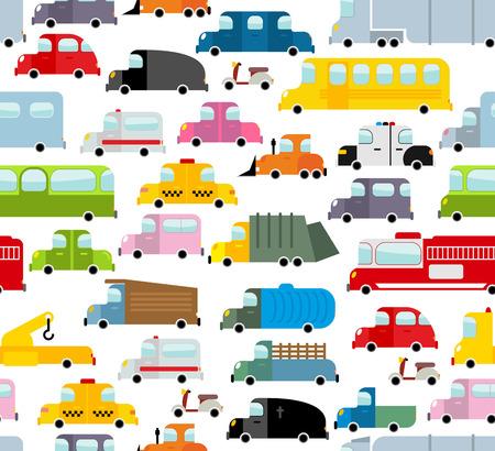 camion caricatura: Modelo inconsútil del coche. Antecedentes de transporte en el estilo de dibujos animados. Muchos coches de juguete pequeños. Textura transporte lindo para la tela de bebé. Autobús escolar y taxi. Grúa y camión de la basura. Vectores