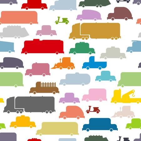 transporte terrestre: Coches de colores sin patrón. Textura encantadora de transporte terrestre para las telas de los niños.