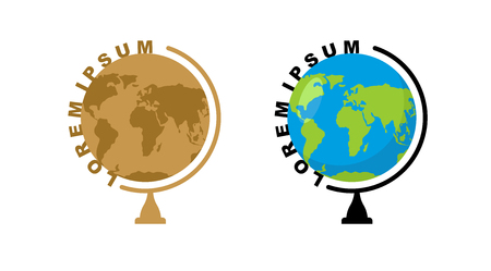 school globe: School globe logo. Emblem for travel company. Ball mode  Earth