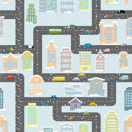 urban area: Snowfall in city seamless pattern. Urban map of winter. Background with roads, real estate and public buildings. Skyscrapers in snow. Infrastructure of industrial area in cold season. Ornament of Cars and roads and houses.