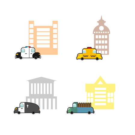 hearse: Set cars and buildings. Police and Police Station. Taxi and train station. Hearse and crematoriums. Public buildings and utility vehicles