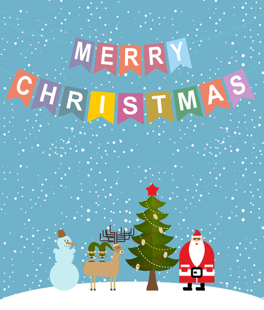 sweetheart: Merry Christmas. Snowfall. Christmas characters: Santa Claus and Christmas tree. Reindeer and Elf. Sweetheart Greeting Card