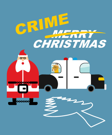 incarcerated: Crime Christmas. Santa Claus in handcuffs. Deer sits in  police car. Killing tree. Silhouette Christmas tree is outlined in chalk on  pavement. Bad guys in new year. Detention of   new years character Illustration