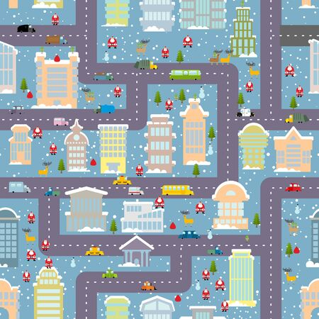 real people: Winter city seamless pattern. Christmas in city. Map real estate and transport. Skyscrapers and people. Santa Claus brings presents. City life in new year. Elf and Christmas tree. Reindeer and snowman. Cute Urban texture for baby tissue. Illustration