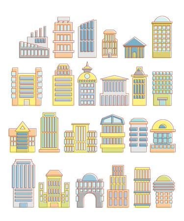municipal: Collection of buildings, houses and architectural objects. Urban elements in cartoon style. Icons of public buildings and facilities. Skyscrapers and arches. Tower and hospital. Municipal offices and business facilities.
