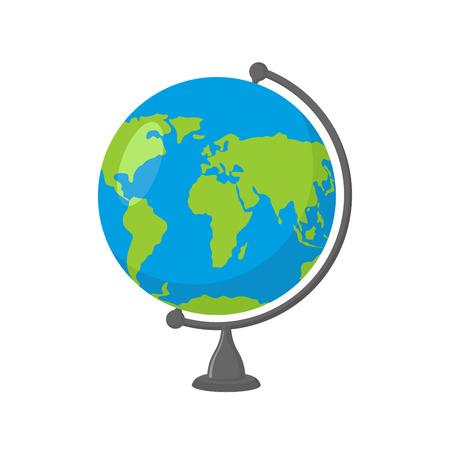 wereldbol: School Globe - model van de Aarde. Model van de hemelbol van de planeet. Voorwerp van leren. Icoon van de wereld. Bol kaart van continenten en oceanen Stock Illustratie