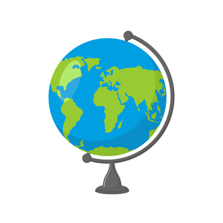 School Globe - model van de Aarde. Model van de hemelbol van de planeet. Voorwerp van leren. Icoon van de wereld. Bol kaart van continenten en oceanen Stock Illustratie