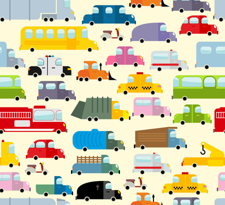 Cartoon car pattern. City traffic jam. Diverse ground Transoprt. Background seamless toy car. Passenger and freight transport. Hearse and ambulance car.