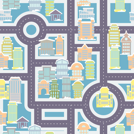 public houses: City street seamless pattern. Public buildings and skyscrapers. Cute ornament houses and roads for childrens fabric. Large urban background. baby vehicle pattern. Texture of town. Illustration