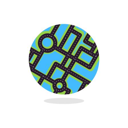 Earth  with roads. Globe planet motorway. Urbanization of planet. Travel logo.