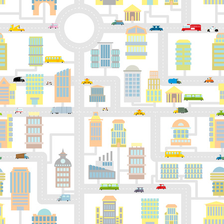 baby background: Morning city seamless pattern.  Texture Cartoon cute map for baby tissue. Business buildings and vehicles. Roads and cars. Industrial background of  modern metropolis. Skyscrapers and public real estate. Illustration