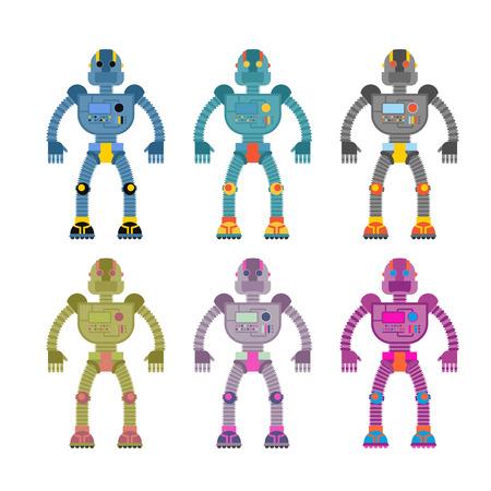 컬러 로봇을 설정합니다. 레트로 기계 장난감. 빈티지 공간 사이보그 일러스트