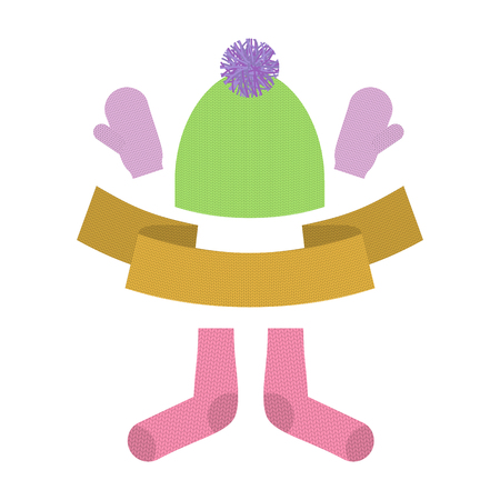 warm weather: Winter clothing set. Warm woolen mittens and socks. Knitted clothes for cold weather.