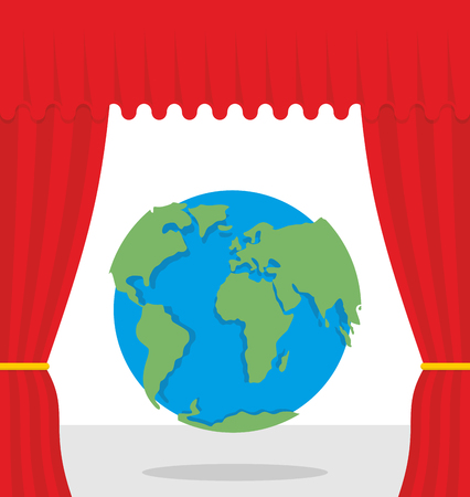 opens: World scene. Red curtain opens Earth. Theatrical presentation by globe. Illustration