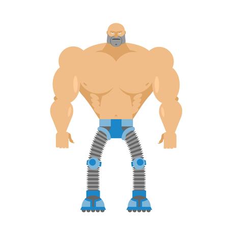 bionico: Met� umano Cyborg-, la met� robot. Corpo dell'uomo. Gambe Cyber ??meccaniche. Macchina di futuro. Arti artificiali Bionic stato di salute. Vettoriali