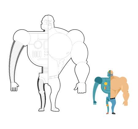 bionico: Bionic libro da colorare robot. Cyber-uomo del futuro. Ferro scheletro e il corpo umano.